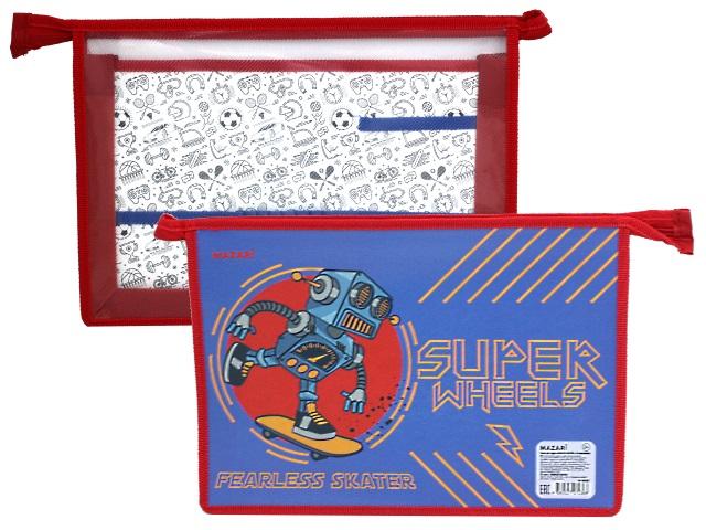 Папка для труда А4 пластик Mazari Fearless Skater M-16090