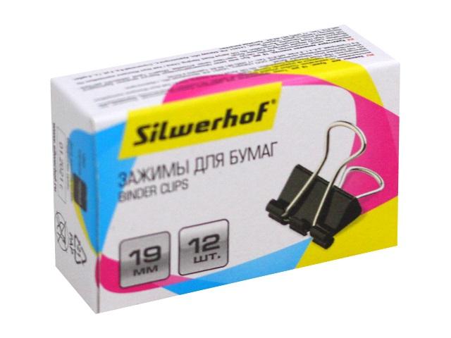 Биндеры набор 12 шт. Silwerhof 19мм черные 1162639