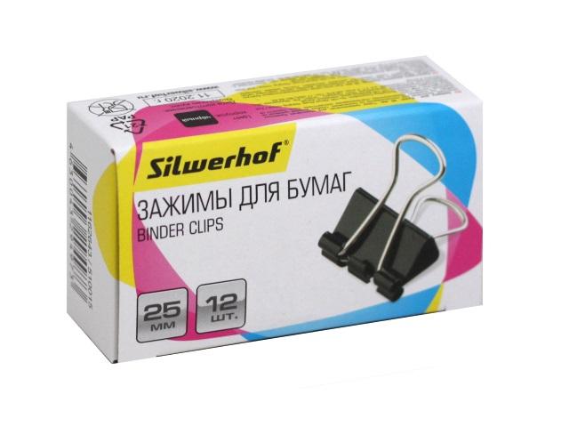 Биндеры набор 12 шт. Silwerhof 25мм черные 510015
