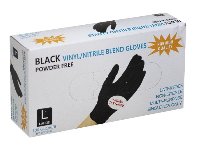 Перчатки нитриловые 100 шт. Black Vinyl Blend Gloves размер L