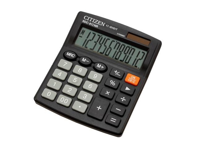 Калькулятор СITIZEN 12-разрядный черный 12.7*10.5 см SDC-812NR