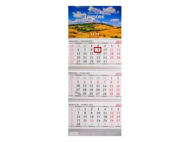 Календарь квартальный 2022 3-х блочный Prof Press Красивый ландшафт КК-3314