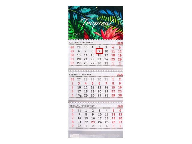 Календарь квартальный 2022 3-х блочный Prof Press Нарисованные тропики КК-3317