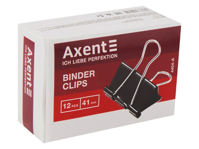 Биндеры набор 12 шт. Axent 41мм черные 4404-A