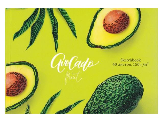 Скетчбук 15*20см 40л Prof Press клееный 200 г/м2 Аппетитные авокадо 40-3794