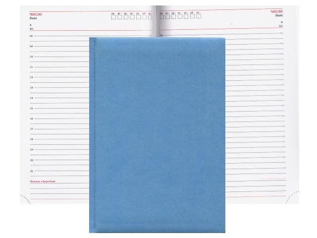 Ежедневник А5 кожзам  80л Profit Глосс голубой 80-3068