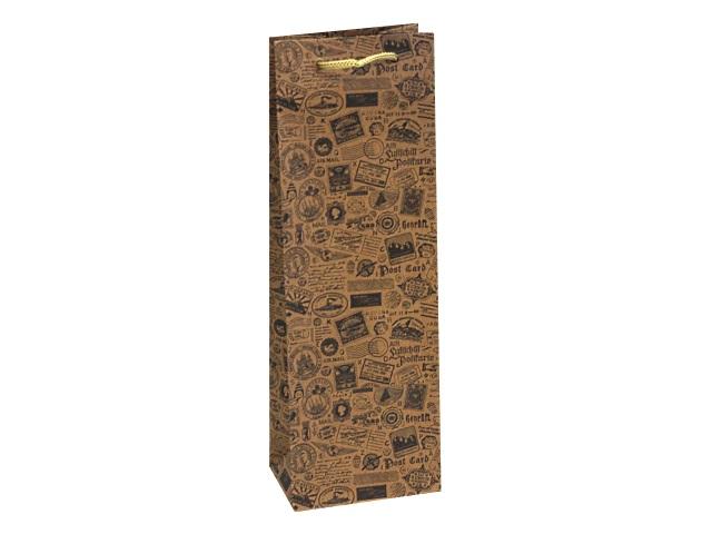 Пакет подарочный бумажный под бутылку Miland крафт Почтовые марки ППК-6321