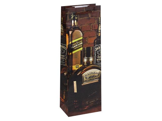 Пакет подарочный бумажный под бутылку Miland Крепкий напиток ПКП-7343