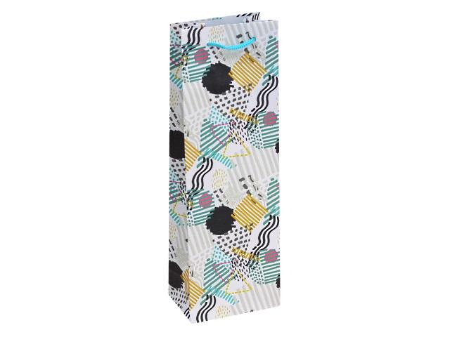 Пакет подарочный бумажный под бутылку Miland Голубая абстракция ППК-6328