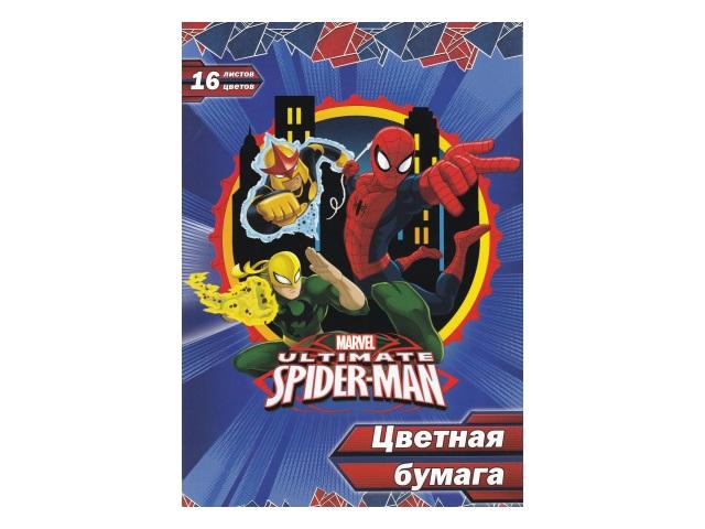 Бумага цветная А4 16л 16цв Академия Холдинг Spider-man односторонняя SM384-2