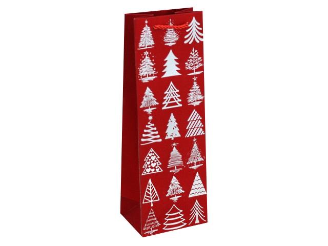 Пакет подарочный бумажный под бутылку Miland Красный с елочками ПКП-2589