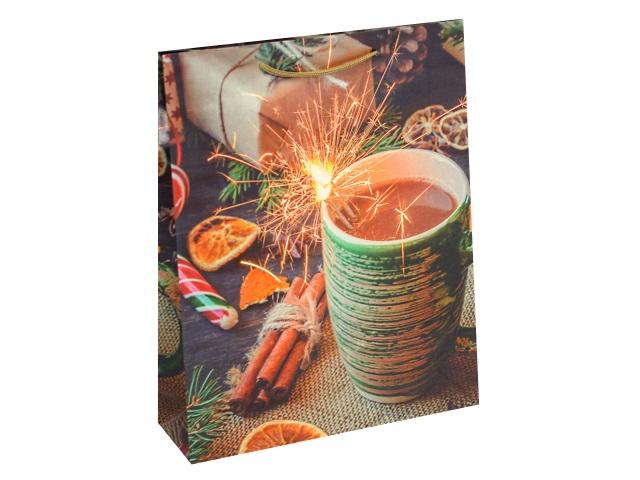 Пакет подарочный бумажный 26.4*32.7*8см Optima Праздничная атмосфера ПКП-8876