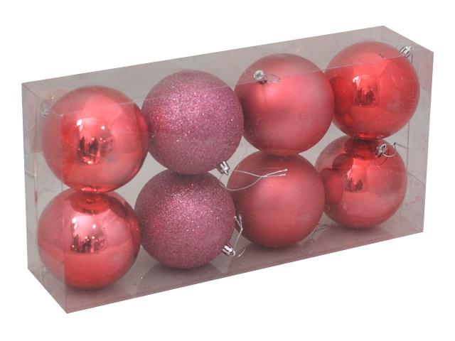 Ёлочная игрушка набор  6 шт. Шары Зимняя сказка 10см коралловые Miland НУ-0411