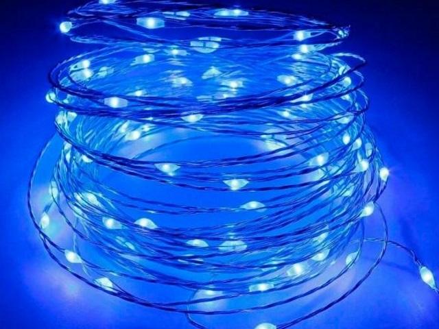 Гирлянда проволока  1.9м 20 ламп голубые на батарейках Miland НУ-3649