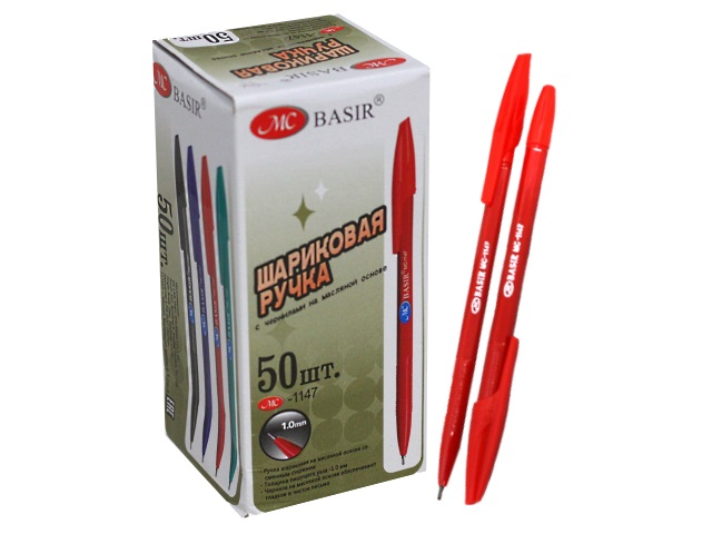 Ручка шариковая Basir 1147-РТ красная 1мм