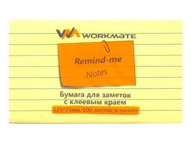 Стикер 75*125мм 100л желтый в линию WM 003000808