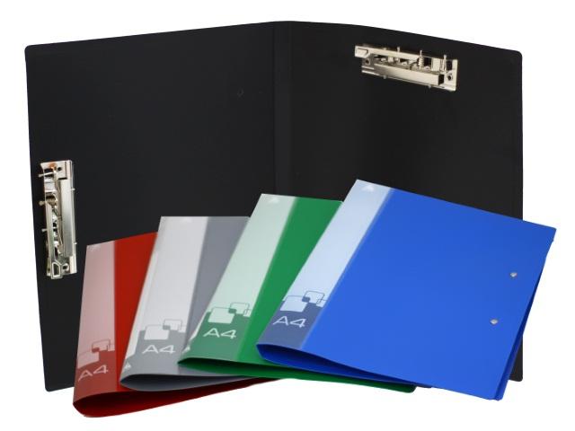Папка с зажимом А4 Бюрократ 2 зажима боковой и верхний 0.7мм цветная PZ07A4/A3