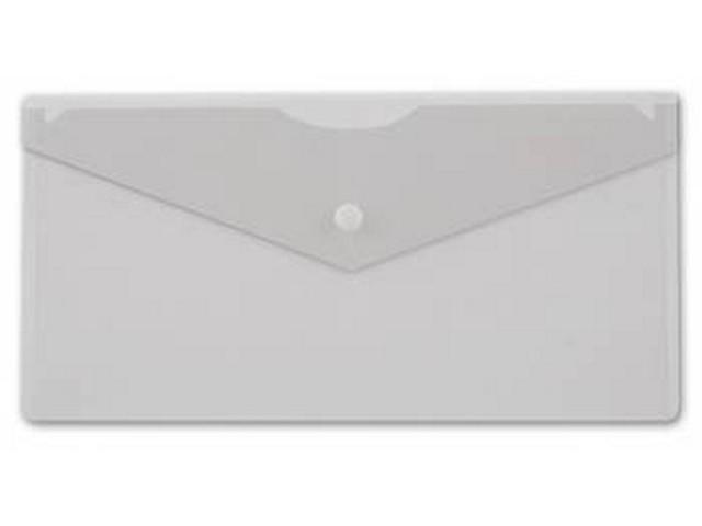 Папка конверт на кнопке DL белая прозрачная Бюрократ PK805Aclear