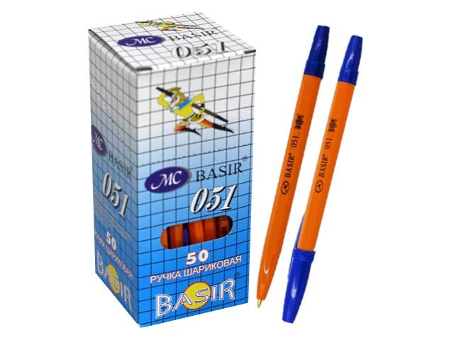 Ручка шариковая Basir 051 синяя 1мм желтый корпус