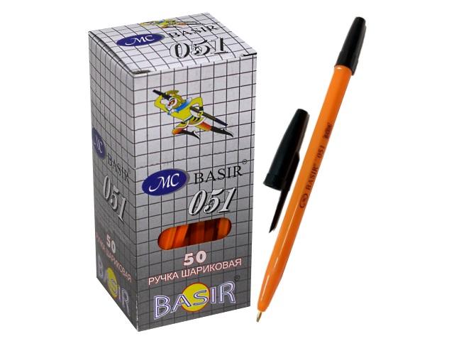 Ручка шариковая Basir 051 черная 1мм желтый корпус\50\2400