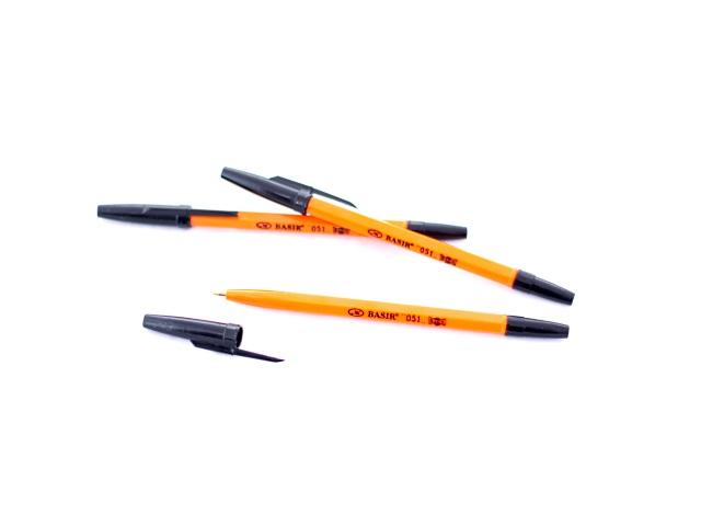 Ручка шариковая Basir 051 черная 1мм желтый корпус