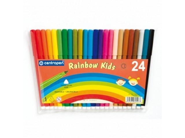 Фломастеры 24цв Centropen Rainbow Kids смываемые 7550-24