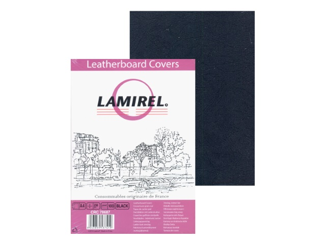 Обложки для брошюровки картонные с тиснением под кожу А4 250 г черные, 100 штук, Delta, Lamirel CRC-78687