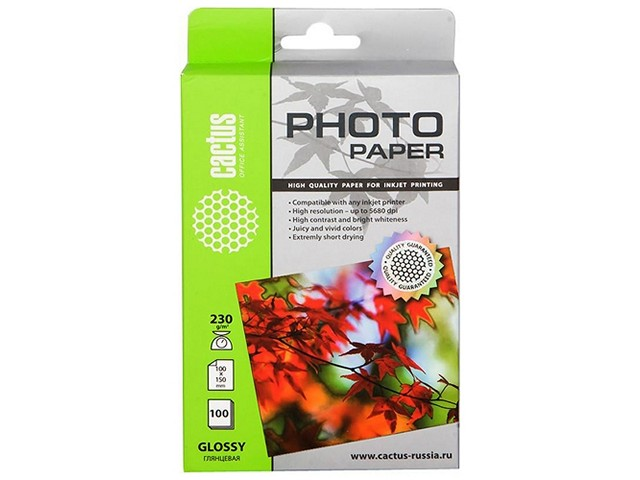 Фотобумага А6 глянцевая 230 г в упаковке 100листов для струйной печати, Cactus CS-GA6230100