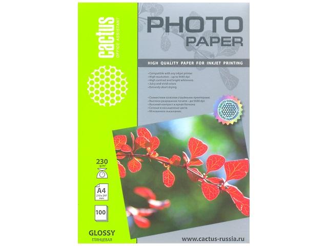 Фотобумага А4 глянцевая 230 г в упаковке 100 листов для струйной печати, Cactus CS-GA4230100
