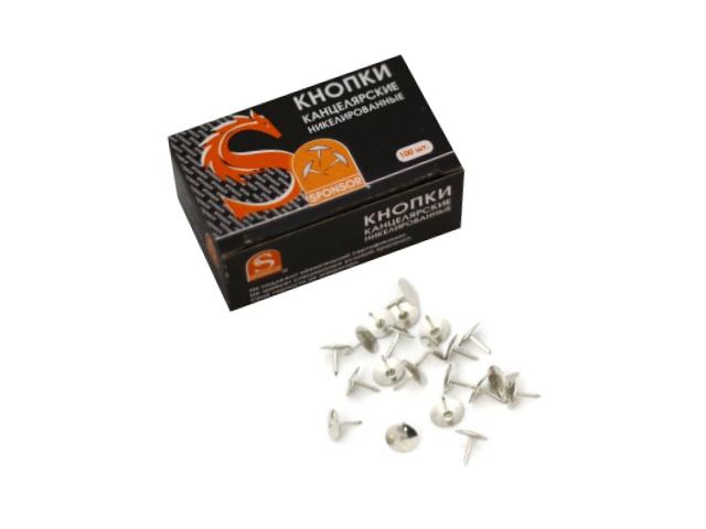 Кнопки никелированные 9.5мм, 100 шт в упаковке, Sponsor STT100N
