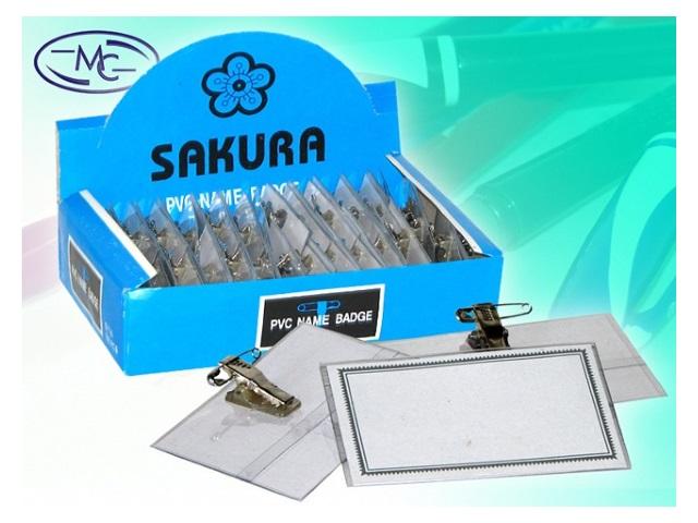 Бейдж с булавкой и клипом 55*90 мм горизонтальный прозрачный Sakura 25