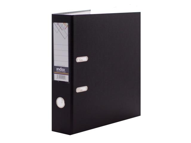 Регистратор  А4/80 Index черный с металлической окантовкой 8/24 PVC NEW ЧЕР