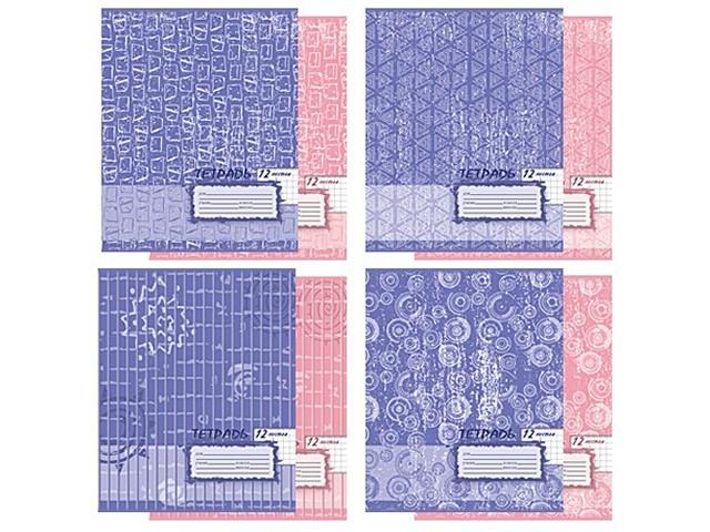 Тетрадь в клетку 12 листов Фактура розовая/ голубая, Академия Групп ЕАС-5933/4