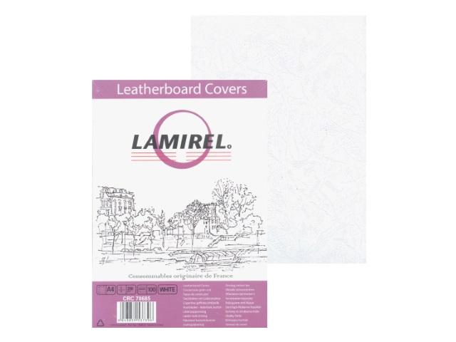 Обложки для брошюровки картонные с тиснением под кожу А4 250 г белые, 100 штук Delta, Lamirel CRC-78685