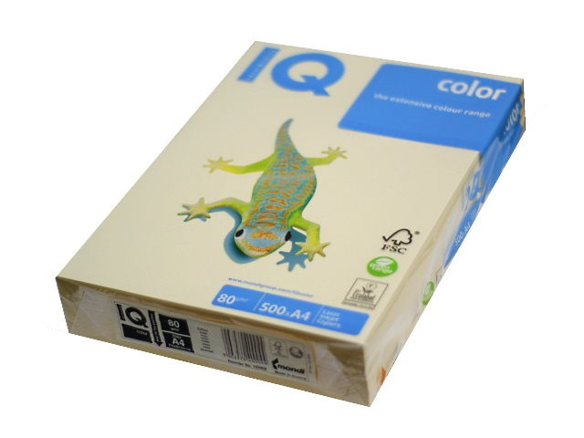 Бумага А4  80 г/м2 500 л. IQ Color пастель кремовый CR20