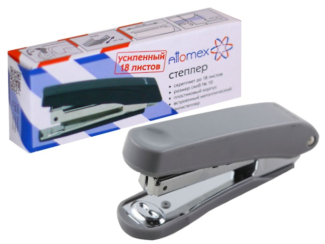 Степлер №10 12л пластик серый с антистеплером Attomex 4142323