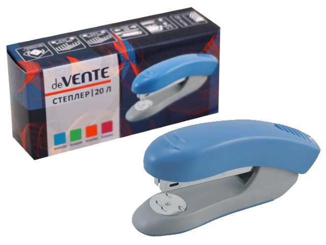 Степлер №24/6-26/6 20л пластик голубой DeVente 4142338