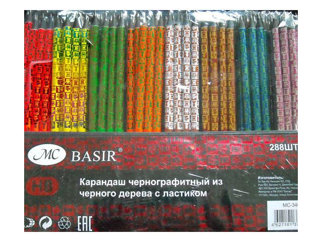 Карандаш HB Basir Шахматы круглый с ластиком МС-3404