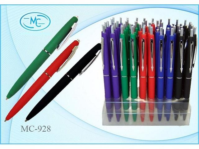 Автоматическая шариковая ручка: яркий цветной корпус /ассорти/, покрытие корпуса soft, с серебрянным клипом, цвет чернил - синий арт МС-928