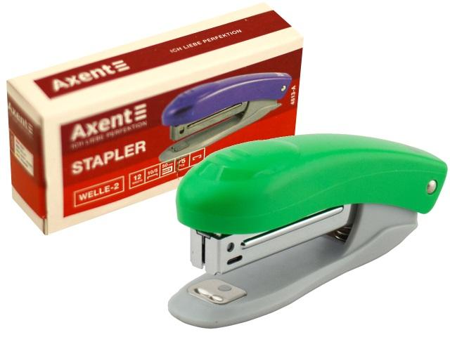 Степлер №10 12л мини Axent пластик Welle-2 салатовый с антистеплером 4813-09-А
