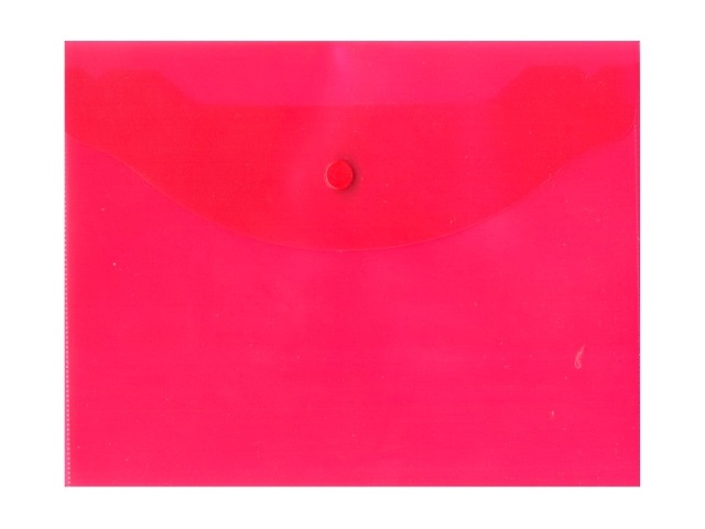 Папка конверт на кнопке В5 красная прозрачная Kanzfile В-5А