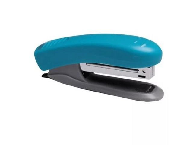 Степлер №10, 10л., пластиковый, голубой, с антистеплером, DeVente
