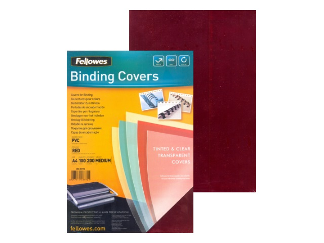 Обложки для брошюровки пластиковые, прозрачные, А4, 200 мкм, красные, 100 шт., Transparent, Fellowes