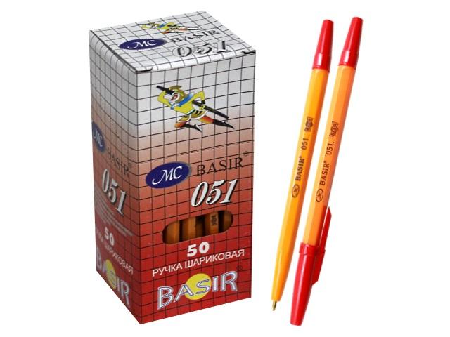 Ручка шариковая Basir 051 красная 1мм желтый корпус