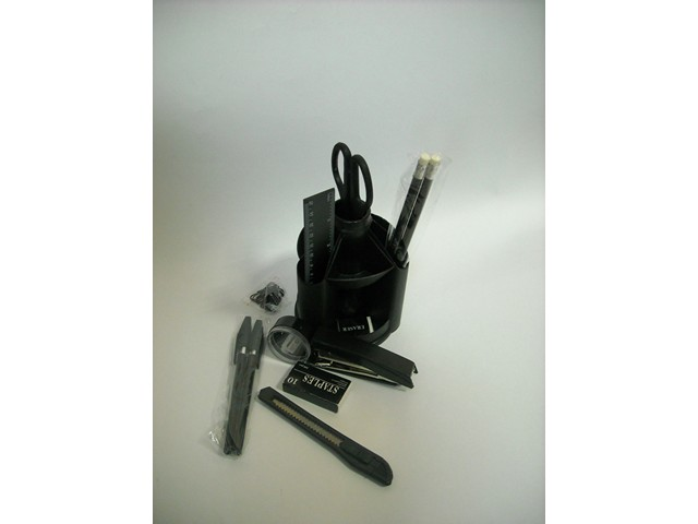 Канцелярский набор, 13 предметов, вращающийся, черный, Mini Desk, iOffice I-MD802SNK