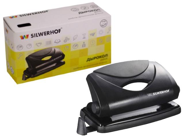 Дырокол на  10 листов пластик черный Schwarz Silwerhof 391030-01