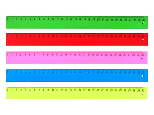 Линейка 30 см пластиковая неоновая, цвета в ассортименте, DeVente 5091503