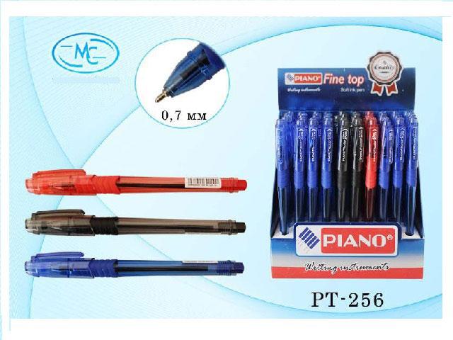 Ручка шариковая Tourist 3 цвета (синяя - 35 шт, черная - 10 шт, красная - 5 шт), 0.7 мм, Piano PT-256