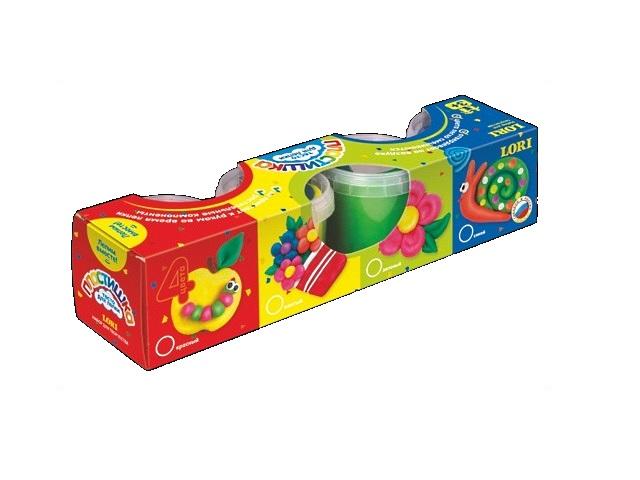 Тесто для моделирования, 4 цвета по 115 гр, Пластишка № 4, в коробке, Lori Тдл-007