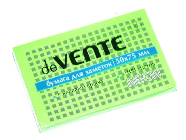 Стикер 50*75мм 100л неон зеленый DeVente 2010313